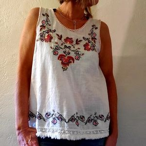 Max Studio embroidered tank/swing top